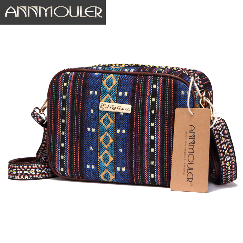 Annmouler Vintage Women Crossbody Bag Fabric Tribal Shoulder Bag Small Women Bags Tassel Messenger Bag For Girls With 2 Colors