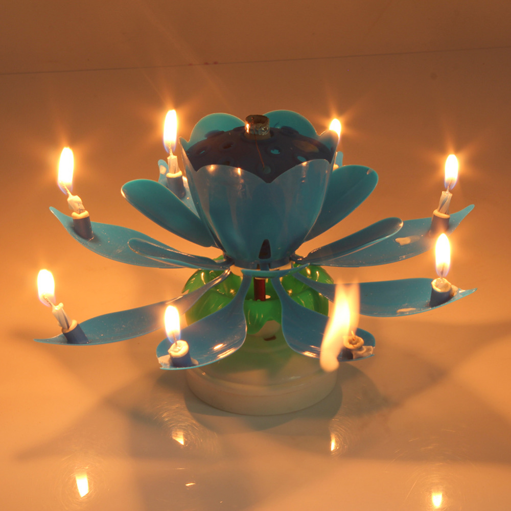 Electric Led Birthday Candle For Cake Musical Lotus Flower Art Candles Rotating Lights Lamp Happy Party Decoration In From Home Garden On