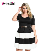 Sexy 2017 Women Summer Style Party OL Dress 4 Color Stripes Detail Belted Plus Size Skater