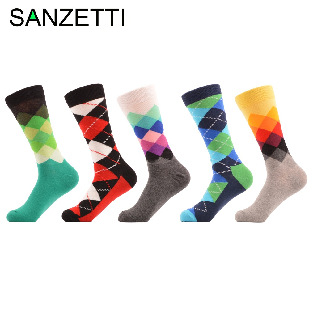SANZETTI 5 pair/lot Mens Colorful Argyle Combed Cotton Socks Casual Funny Crew Socks for man Wedding Gift
