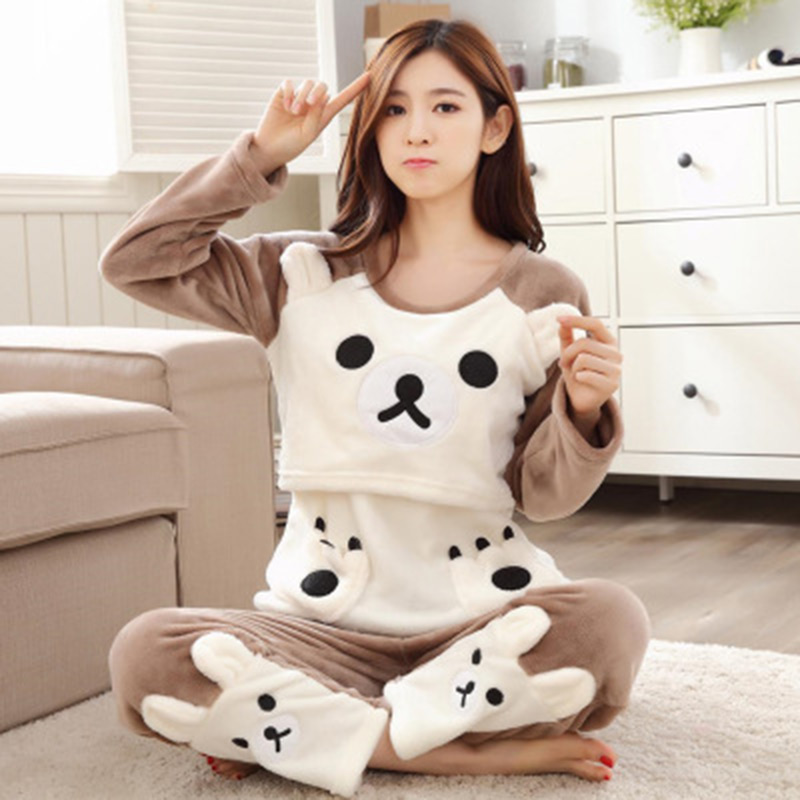 Autumn Winter Pajama Sets for Pregnant Women Mothers Breastfeeding Sleepwear Flannel Animal Nightgown Cute Bear Maternity Sets 3 colors and free size autumn and winter women maternity sleepwear pregnant pajamas and comfortable nightgown free shipping