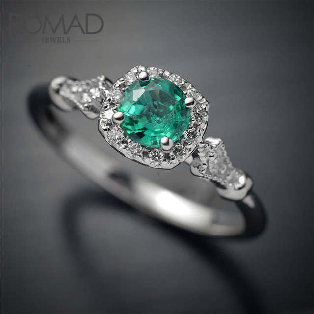 ROMAD Silver Color Wedding Rings Female Jewelry with Green Stones Women Accessor