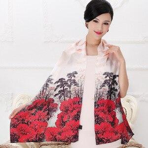 Image 5 - DANKEYISI 100% morwy długi szalik kobiety jedwabny szal luksusowy szalik markowy szal szale jedwabne długa z nadrukiem szale okrycie plażowe