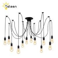12 Heads 2M Cable 12 Bulbs 110V 220V Retro Edison Bulb Holder E27 Socket Antique Brass Lamp Base Lampholder For Pendant Light