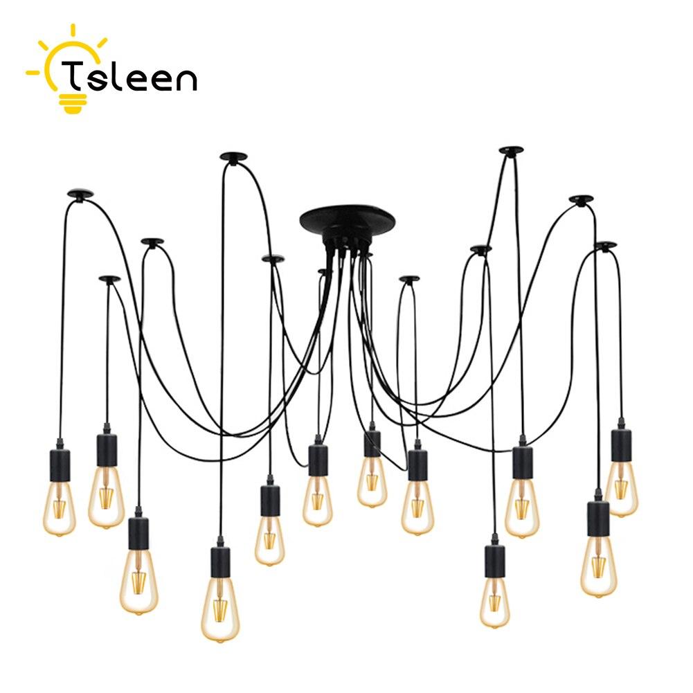 12 têtes 2 M câble 12 ampoules 110 V 220 V rétro Edison porte-ampoule E27 douille Antique en laiton lampe Base douille pour suspension