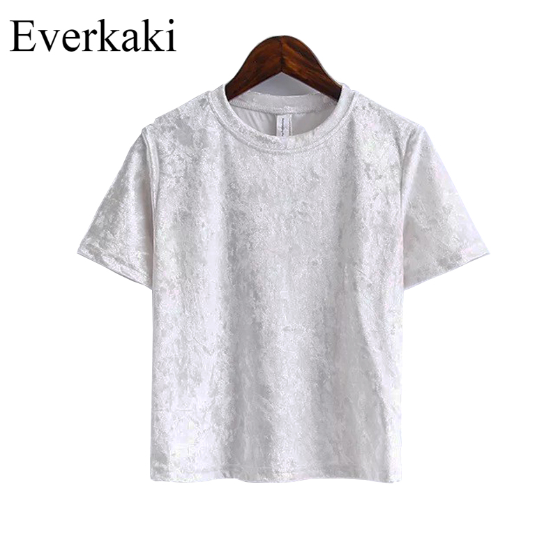 2017 Spring Women Short Sleeve T Shirt Lady Girl Velvet Shirts Solid O Neck Tops Tees