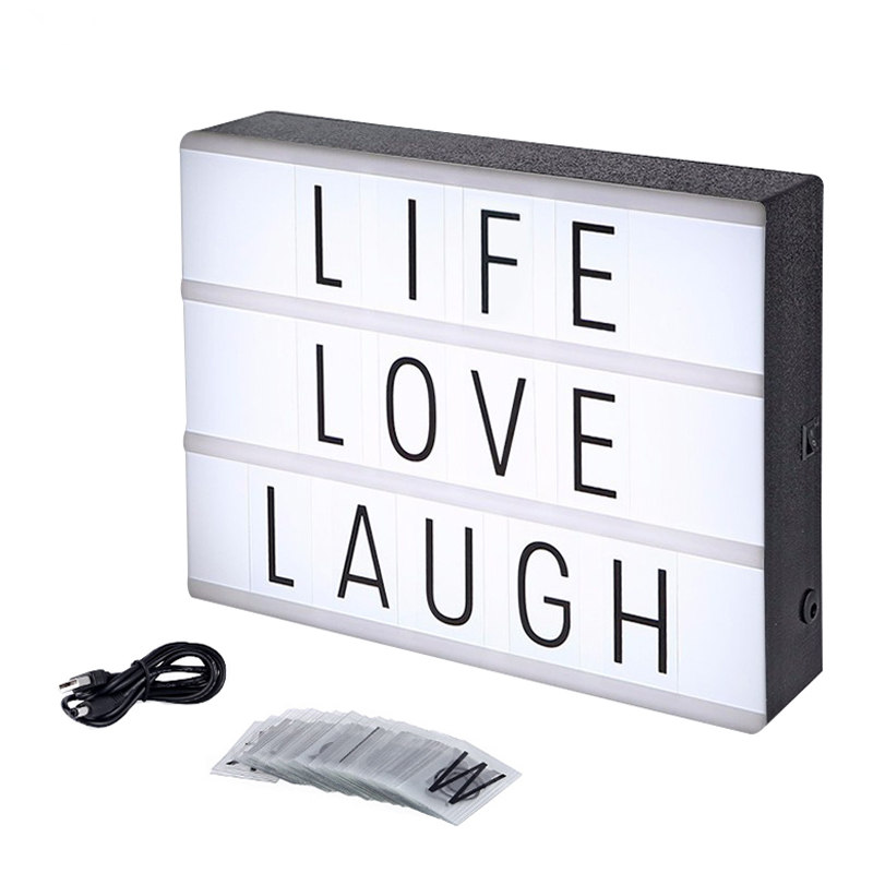 A4 Led Night Light Box with DIY Black Letters Table Lamp Acrylic Cinematic Light Box AA Battery Or Usb Art Desk Lights Gifts ...