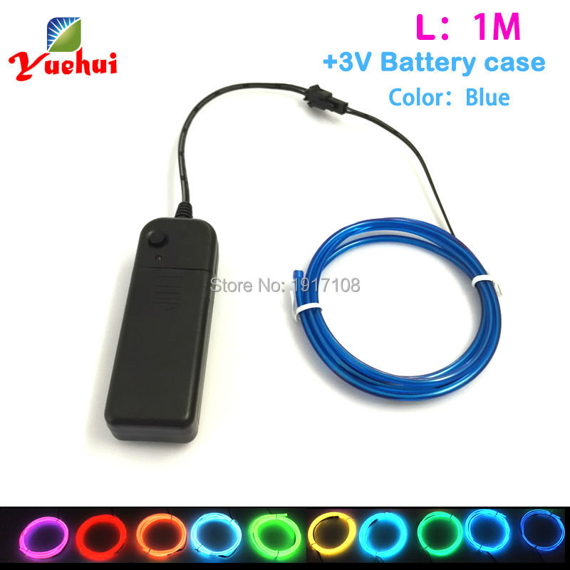 1Meter 3.2mm 10 COLOR Option Battery Powered EL Wire Tube Rope Flexible Glow LED Neon Light For Car Party Wedding Decoration