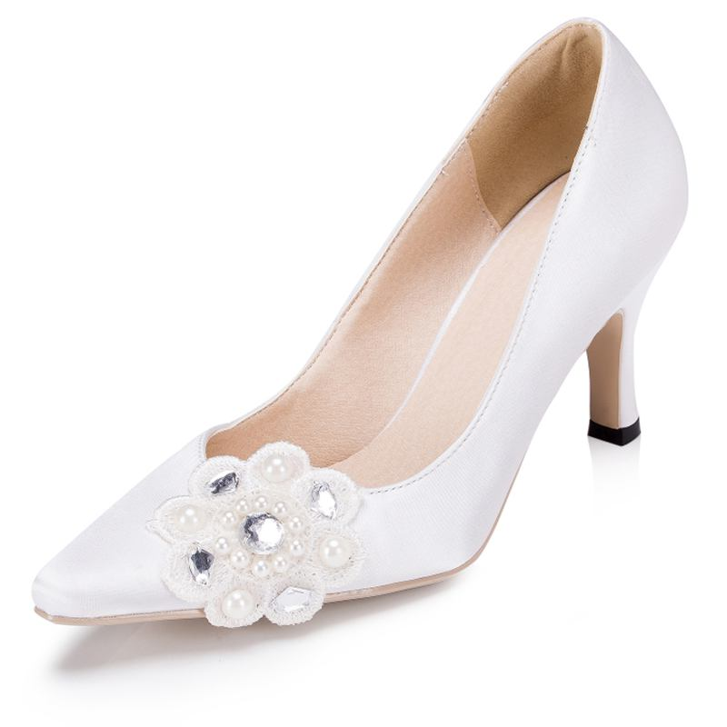 Pearls Rhineston font b Women b font Wedding Shoes High Heels White Ivory Lace Satin Bridal