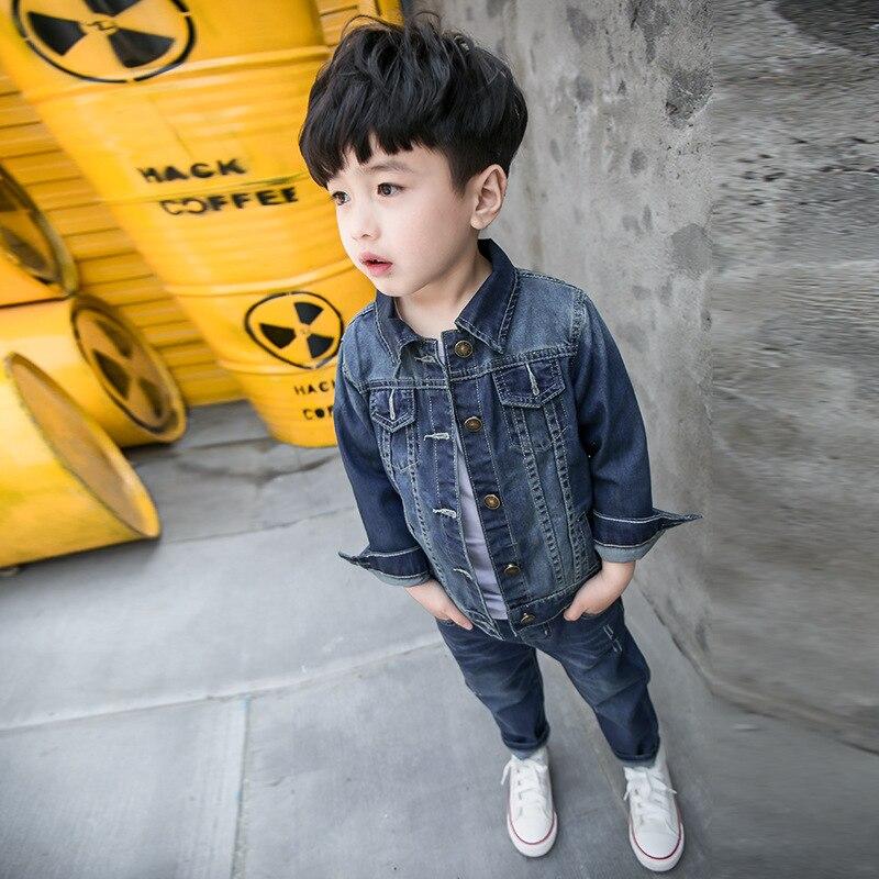 цена  2pcs Boys Denim Jacket & Boys Jeans Clothing Set Boy Outerwear Denim Pant Boys Clothes for 1 2 3 4 6 7 Years Old RKS175003  онлайн в 2017 году