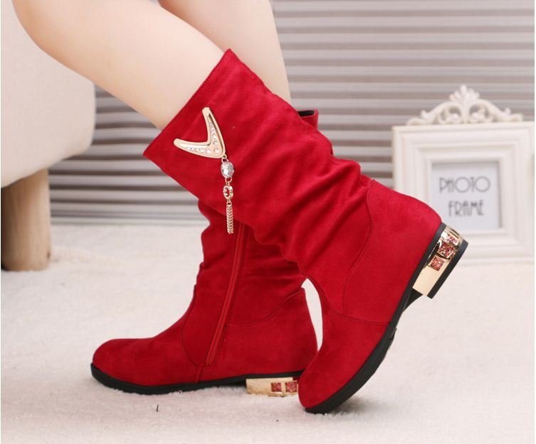 ФОТО Children'S Boots Fashion Shoes Kid'S Princess Boots For Girls Cotton Boots 2015 Autumn/ Winter New Mid-Calf Bling Shoes