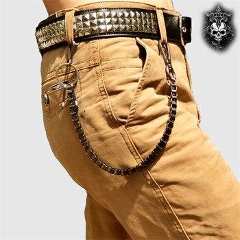 Fashion Punk Hip-hop Trendy Waist Chain Shield Charm Double Hinge Male Pants Belt Chain Women Men Jeans Metal Accessories DR53 5