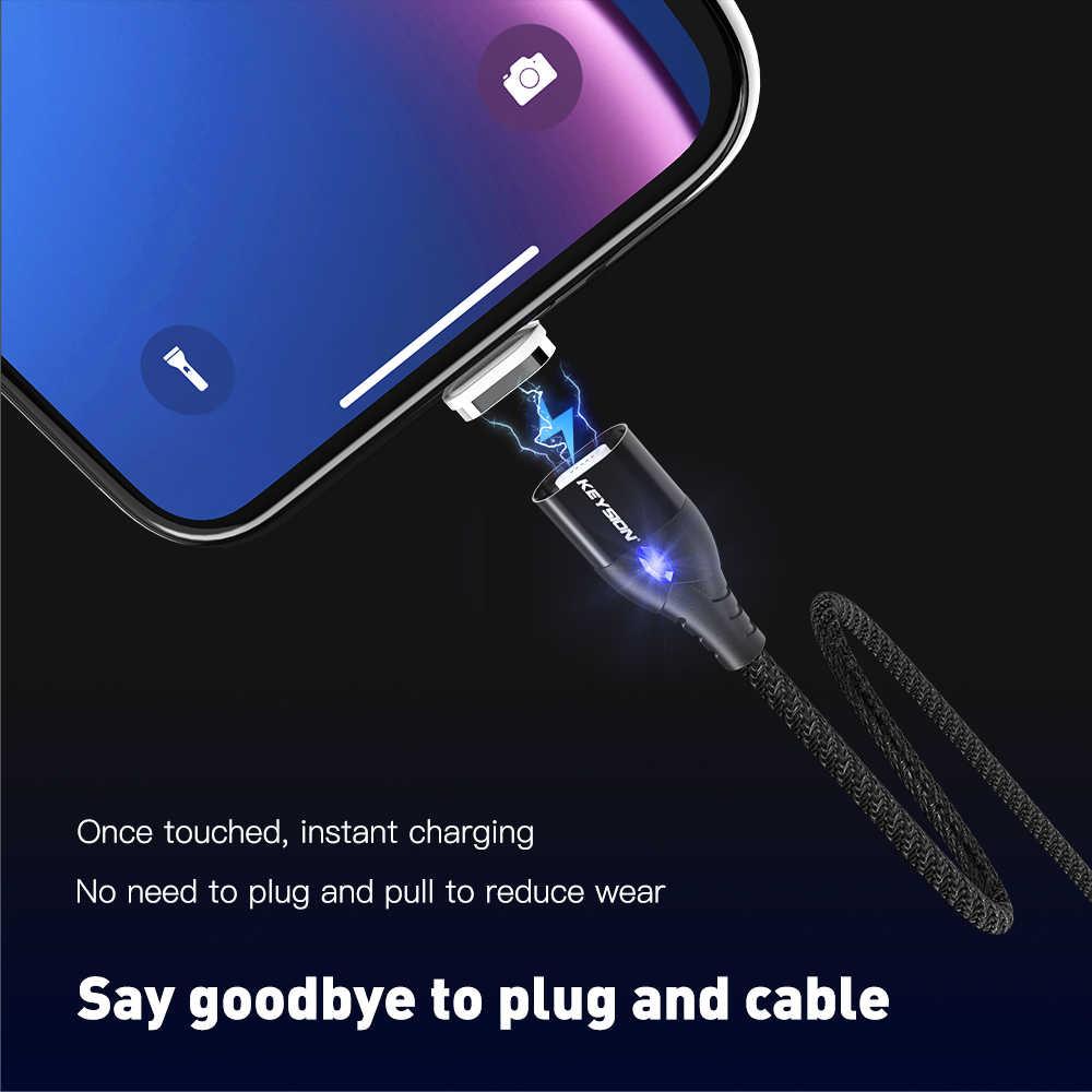 KEYSION USB-C كابل مغناطيسي لسامسونج غالاكسي A70 A50 A30 A20 كابل 1M 3A سريع شحن سلك نوع-C المغناطيس شاحن الهاتف كابل