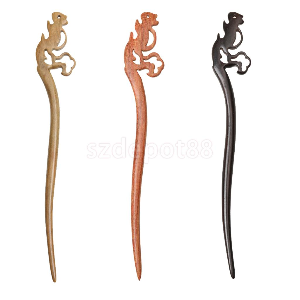 Vintage Handmade Simple Carved Wood Squirrel Design Chopstick Hair Stick Pick Pin Wood Hair Accessories