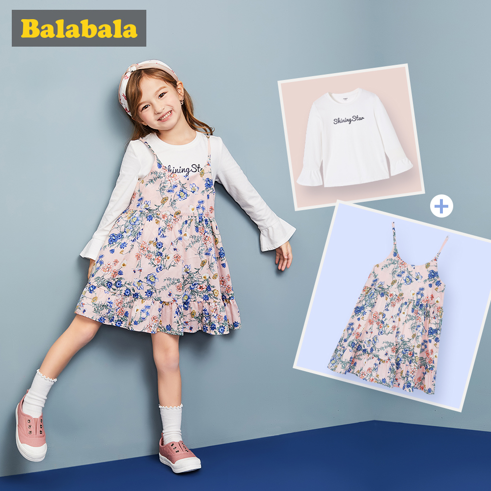 Balabala 2 pcs/set clothes sets for girl children dress long white flare sleeve tshirt & Floral braces dresses for toddler girls fashion brand autumn children girl clothes toddler girl clothing sets cute cat long sleeve tshirt and overalls kid girl clothes