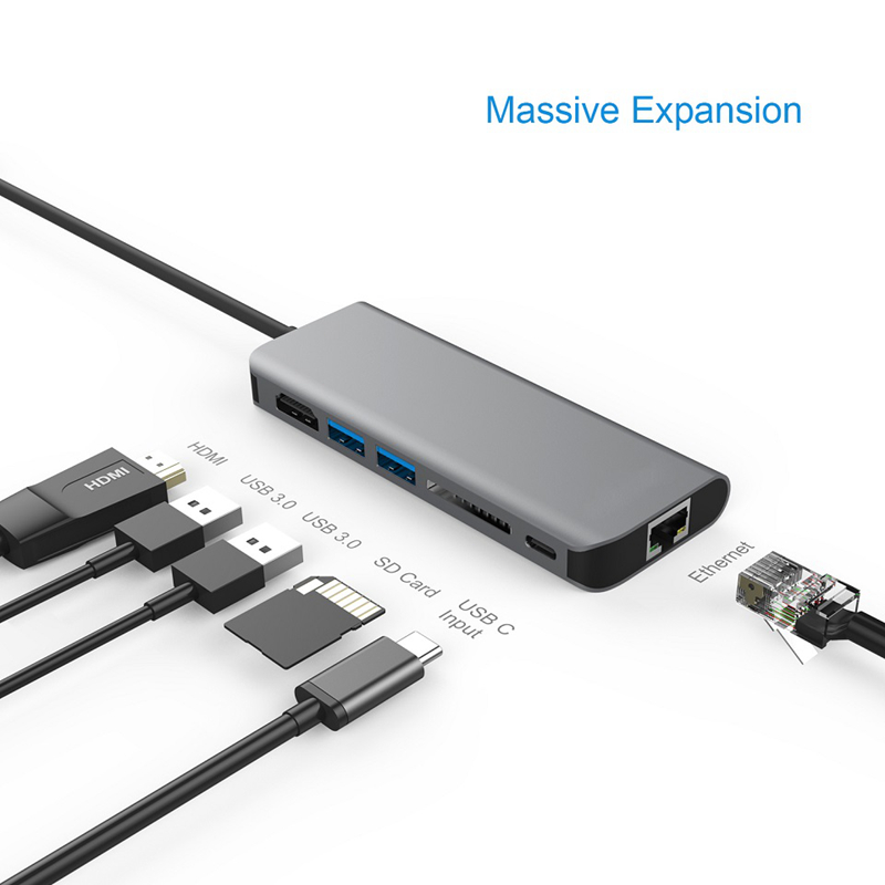 USB C HUB Multiport Type C PD Charging RJ45 Gigabit Ethernet USB 3.0 HDMI 4K Card Reader HUB Adapter for MacBook Type C 3.1 HUB new 4u industrial computer case parkson 4u server computer case huntkey baisheng s400 4u standard computer case