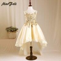 Marfoli Flower Girl Dress Champagne Rose Wedding Pageant Kids Boutique 2017 Summer Princess Party Dresses Clothes