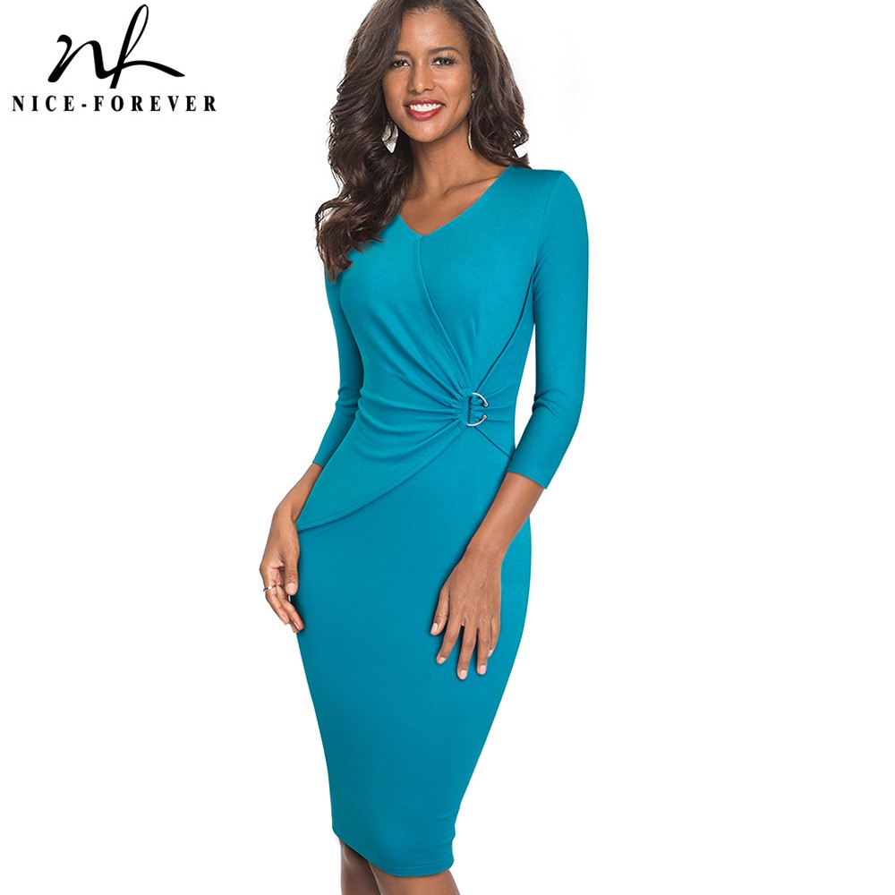 Nice-forever Vintage Brief Solid Color Elegant V Neck Vestidos Business Party Bodycon Work Office Women Female Dress B487