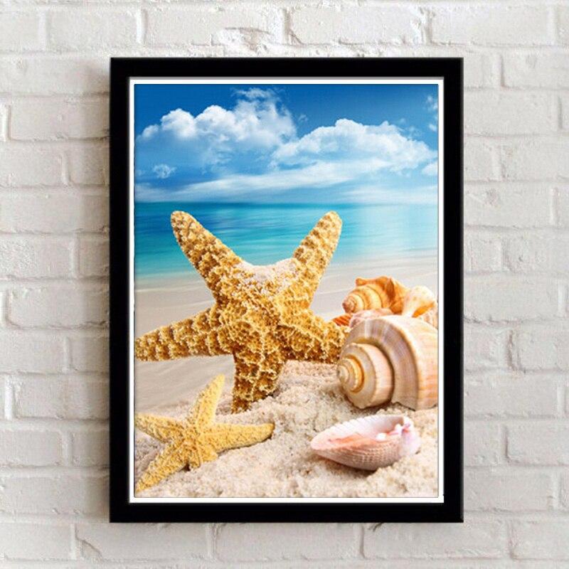 ᗑEnmarcado pared decoración pinturas moderno océano playa paisaje ...
