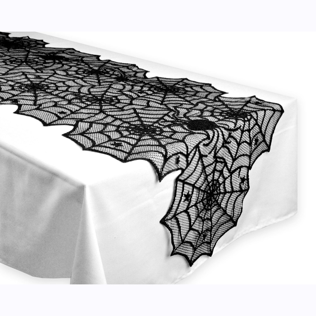 1pcs 18X72inch Halloween Spider Web Table Runners Black Lace