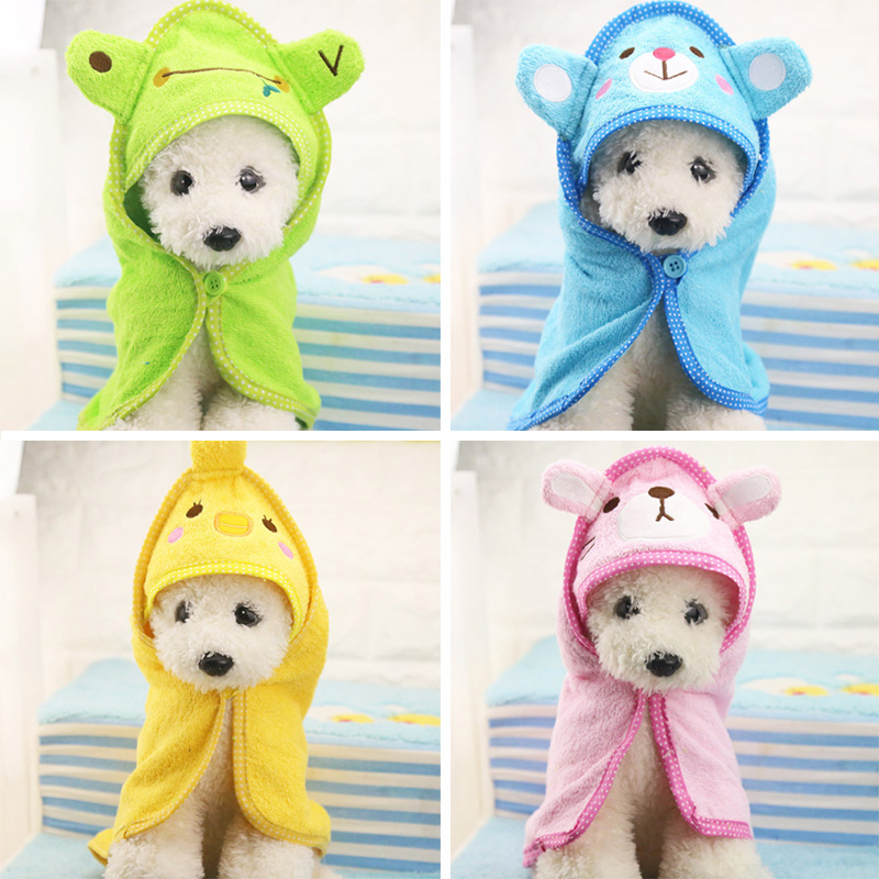 Cute Dog Towel Pet Puppy Drying Bath Cat Towel Cleaning Necesario Dog Hooded Super Absorbent Albornoces Soft Feeling Pet Products