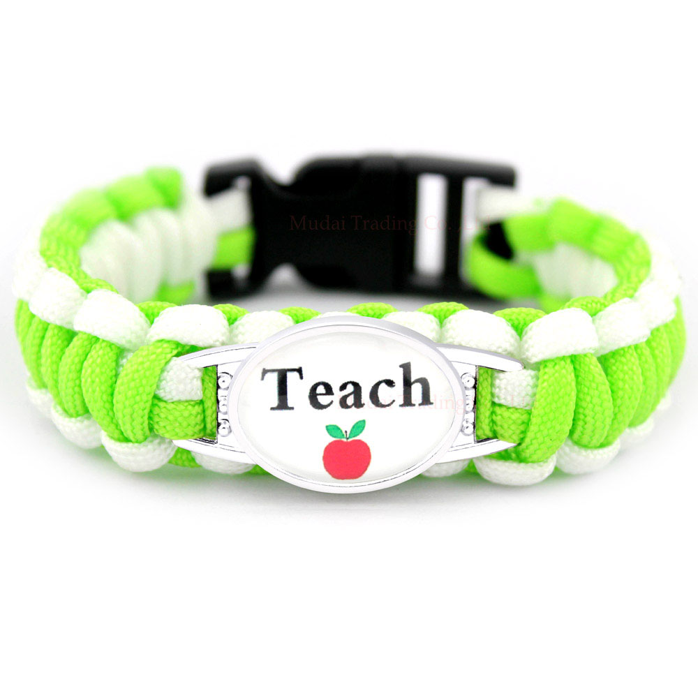 Math Teacher Assistant Apple Teaching Proud Mom Graduation Paracord Charm Bracelets Glass Dome Cabochon Jewelry Men Women Gift