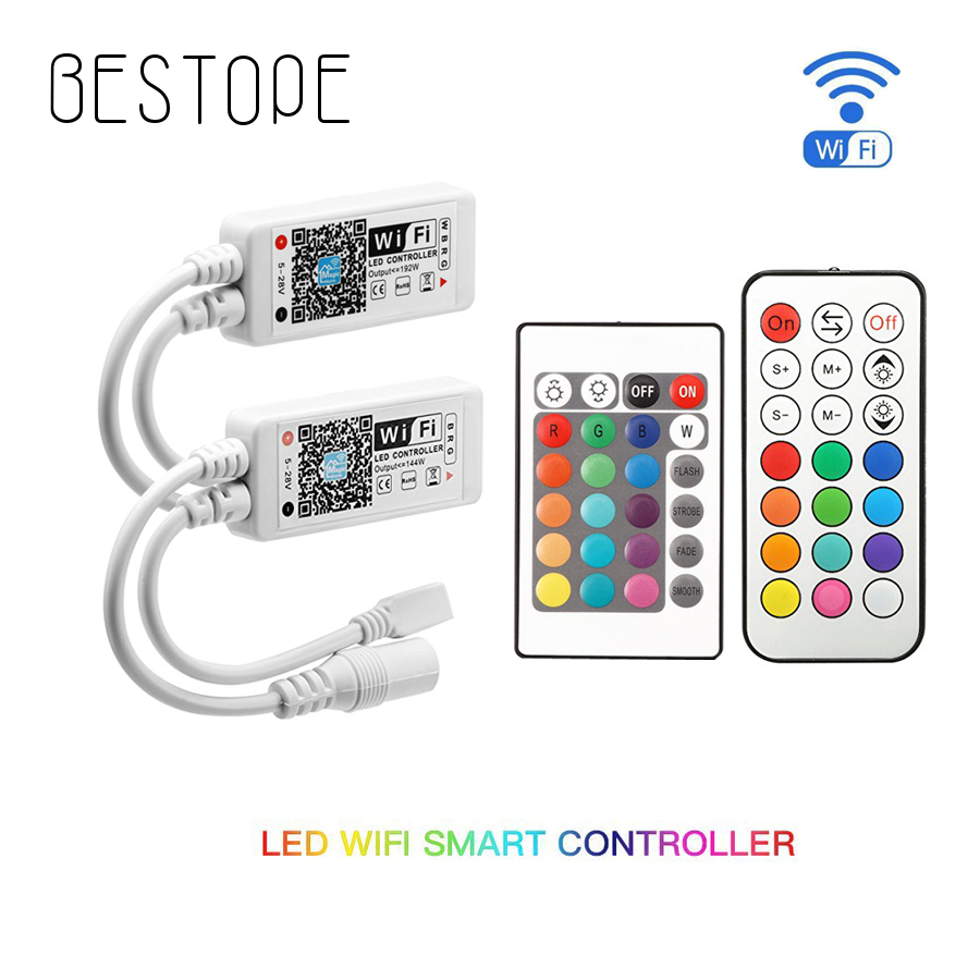 WIFI RGB/RGBW DC12-28V IR RF Strip Controller Music Controller By Amazon Alexa Google Home Phone WIFI Bluetooth Controller For S