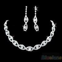Ślubna dla nowożeńców Prom biżuteria kryształ Rhinestone Diamante naszyjnik i zestaw kolczyków C7BK