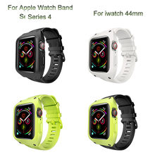 Sport Silicone Case Band For Apple Watch 44mm Loop Bracelet Strap with Protective Cover For iwatch 4 Watchband Shell Accessories все цены
