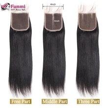 Фунми натуральный Цвет перуанский Девы волосы прямые закрытия шнурка 1 шт. человеческих волос коричневый 4x4 дюйма швейцарский закрытия шнурка