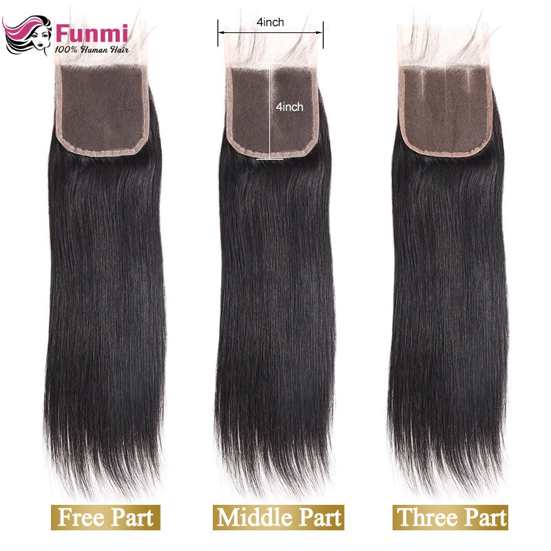 Funmi Natural Color Peruvian Virgin Hair Straight Lace Closure 1PC 100% Human Hair Medium Brown 4x4 Inch Swiss Lace Closure