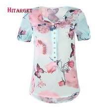 2019 danshiki summer women short sleeves v-neck top Chiffon strap V-neck print plus size 5XL womens shirt  WG031-OM8655