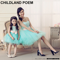 Mom And Daughter Gown dress 2016 mother daughter dresses party wedding princess girls dress matching mother daughter clothes