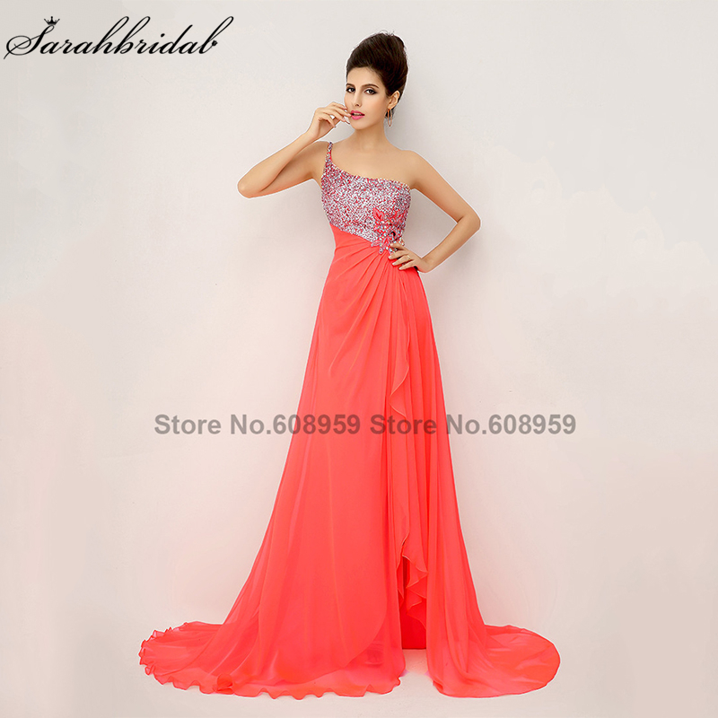 In Stock Elegant One Shoulder Evening Dresses Crystals Sexy High Slit Prom Dresses Pleat Chiffon Sequined Real Sample XU014-in Evening Dresses from Weddings & Events    1
