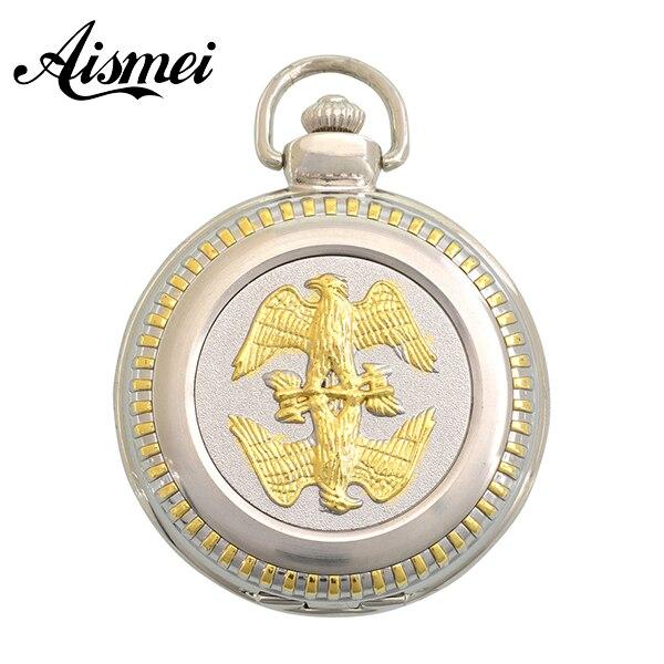 online get cheap antique mens gold pocket watch aliexpress com fashion quartz two gold eagle bird pocket watch man classic vintage antique fob watches men retro
