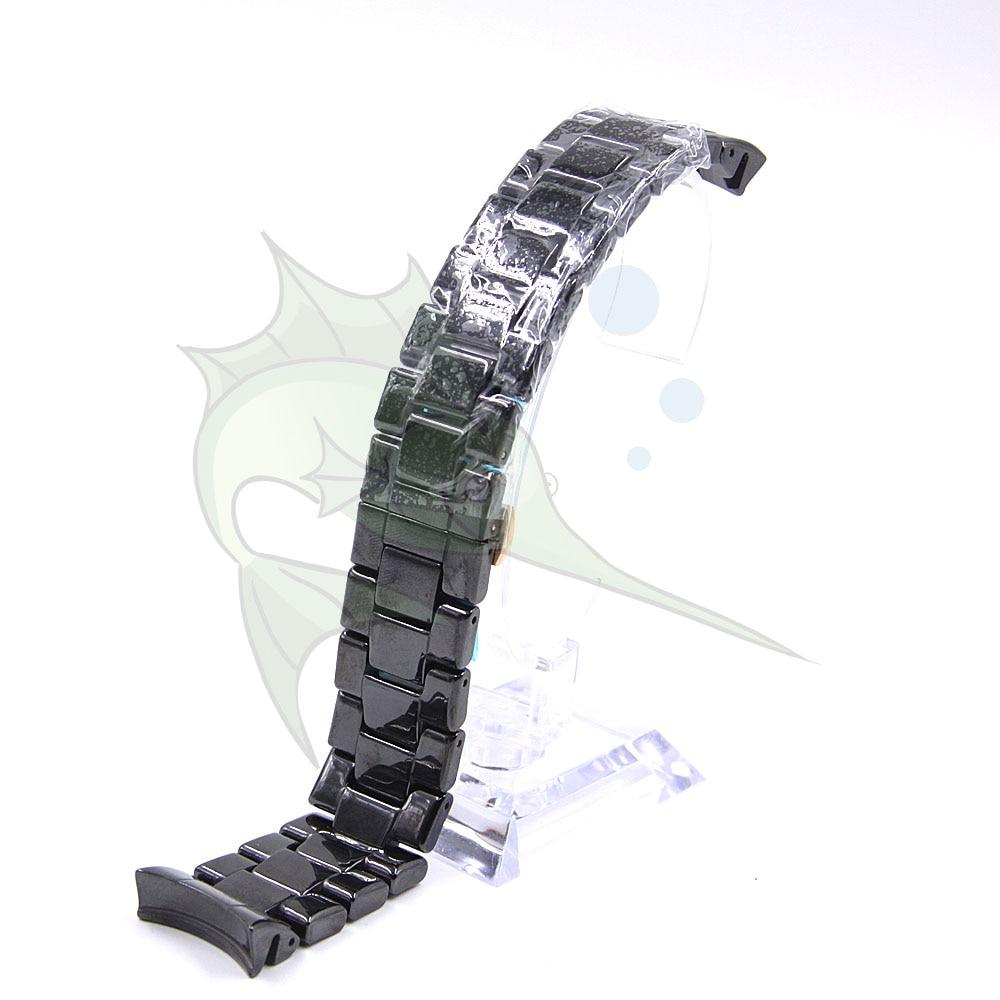 Image 3 - High End Ceramic Watch Strap Black Color Butterfly Buckle Bracelet Ceramic Watchband for AR1410 AR1400,22mm Ceramic WatchbandWatchbands   -