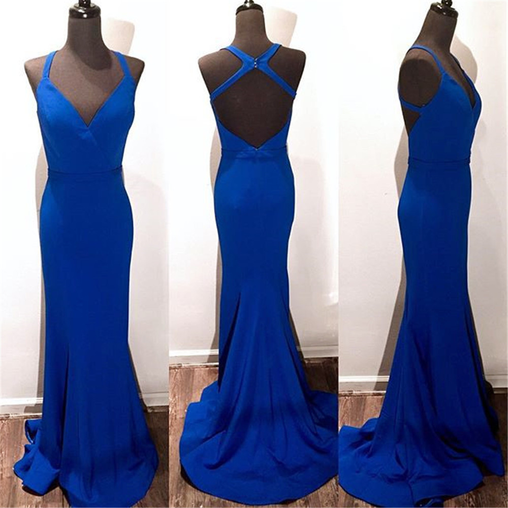 Simpel bleu Royal longues robes De bal dos nu Spaghetti sangle étage longueur sirène soirée robe De soirée 2019 Vestido De Fiesta - 2