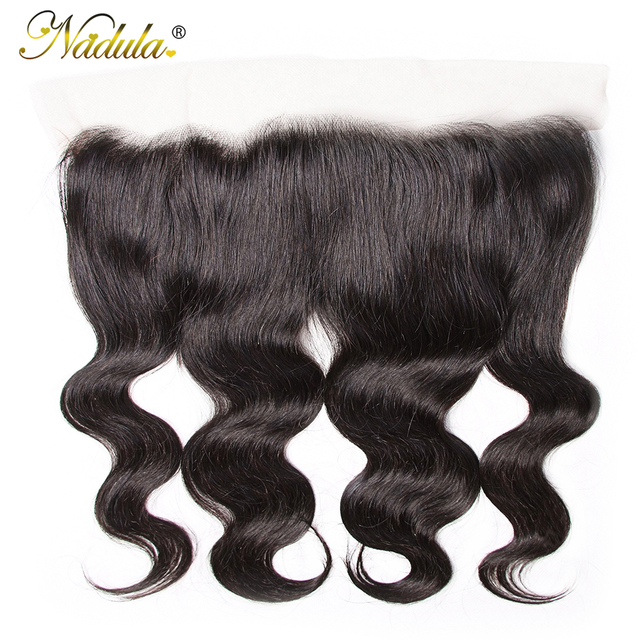 $ US $56.10 Nadula Hair Brazilian Body Wave 13*4 Medium Brown/ Transparent Lace Frontal Closure 10-20inch Lace Frontal 100% Remy Human Hair
