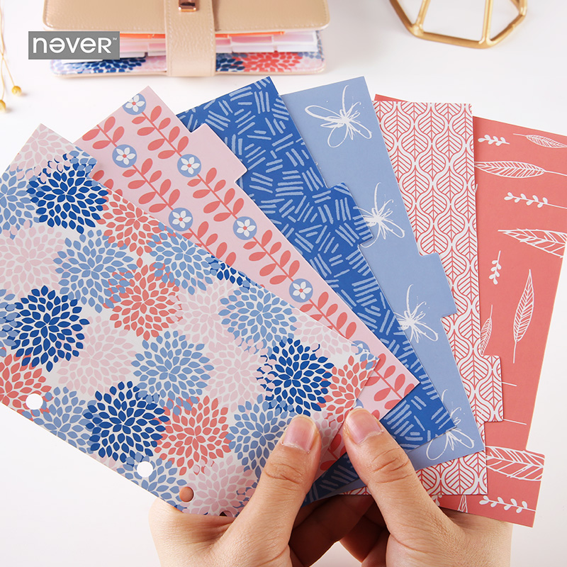 Never Geometry Petals Spiral Notebook Index Dividers A6 Planner Accessories For Filofax Dokibook Gift Stationery School-supplies ежедневник a life dokibook a6 a5personal8
