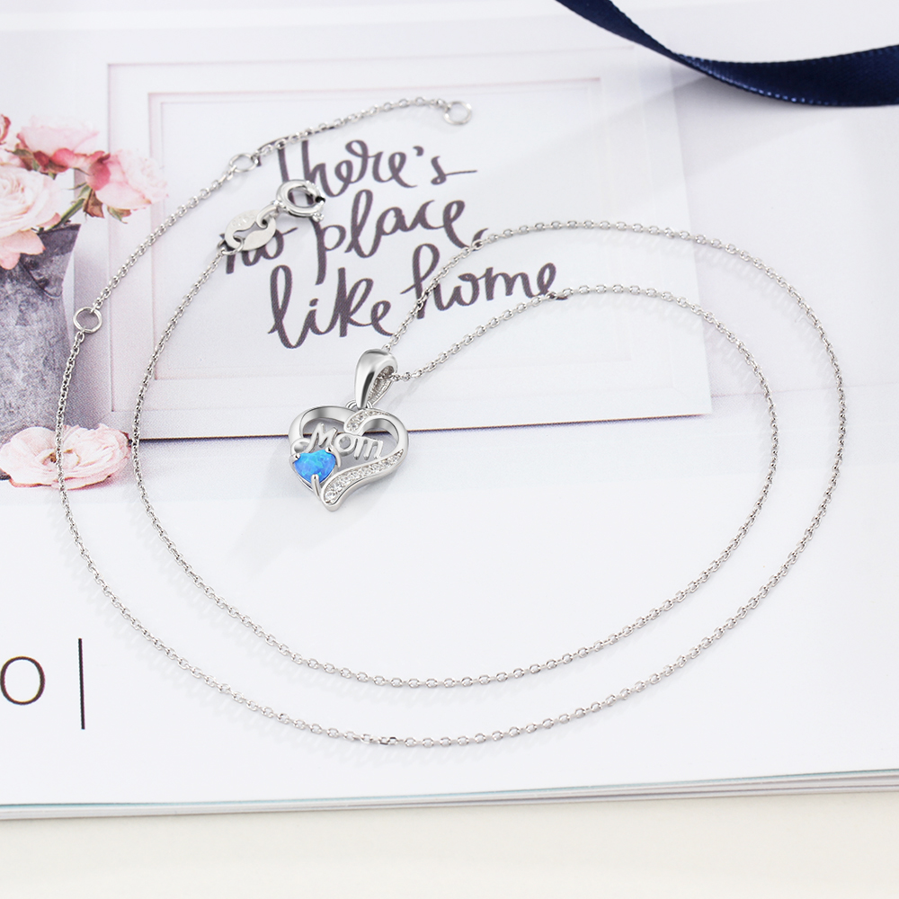 Heart Shape Mom 925 Sterling Silver Necklace Pendant featuring a Blue Opal and CZ accent stones