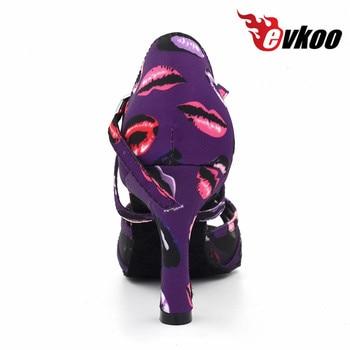 Lila Satinschuhe | Evkoodance Zapatos De Baile Alle Größe Rosa Lila Farbe 8,3 Cm Ferse Frauen Professionelle Latin Salsa Schuhe Für Mädchen Evkoo-455