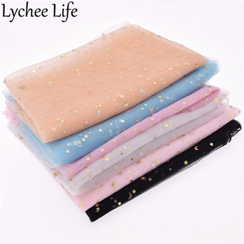 Lychee Life Star Moon Gauze Fabric 150cm Colorful Mesh Lace DIY Handmade Sew Clothes Wedding Dress Accessories Supplies