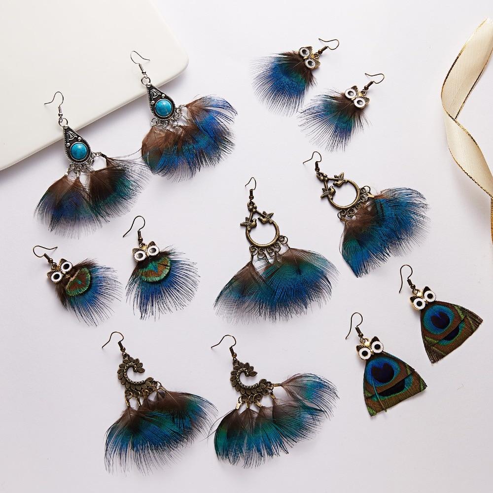 Rinhoo Bohemia Vintage Feature Earrings New Arrival Owl Peacock Feather Ear Hook Dangle Earrings Women Ethnic Earrings Jewelry