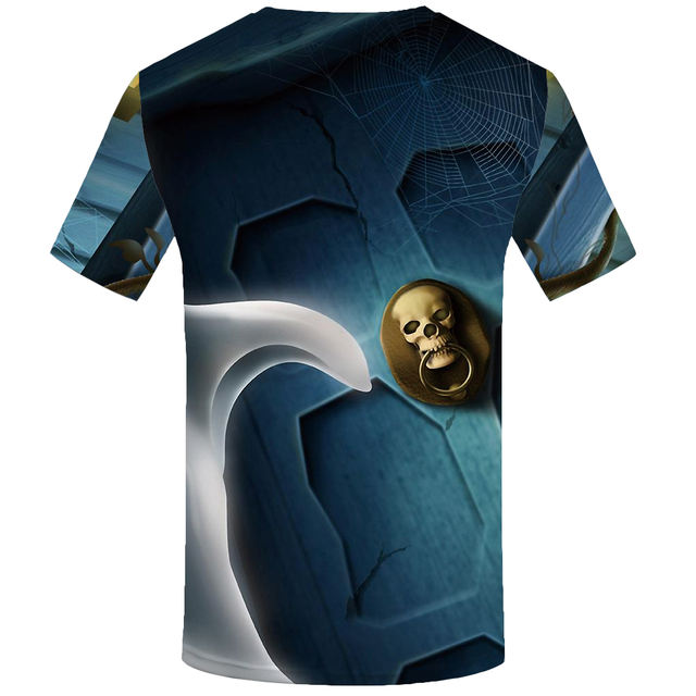 KYKU Brand Psychedelic Tshirt Men Skull T Shirt Halloween Print T-shirt Punk Rock Clothes Anime Fantasy 3d Space Mens Clothing