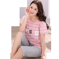 Plus Size Pajama Sets For Women Cotton Casual Striped Pajamas Pijama Girls Knee Length Pants Sleepwear