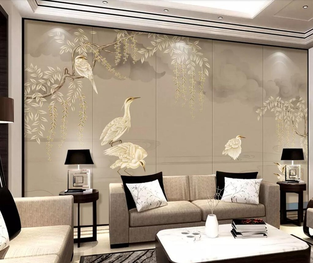 Hand painted wallpapers birds and flowers elegant classical TV background wall professional custom murals photo wallpaper in Wallpapers from Home Improvement