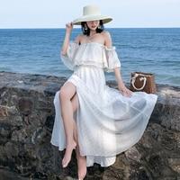 High Quality Designer Runway Maxi Dress 2019 Summer Women Off the Shoulder Sexy Slash neck Chiffon Beach Long Dresses white
