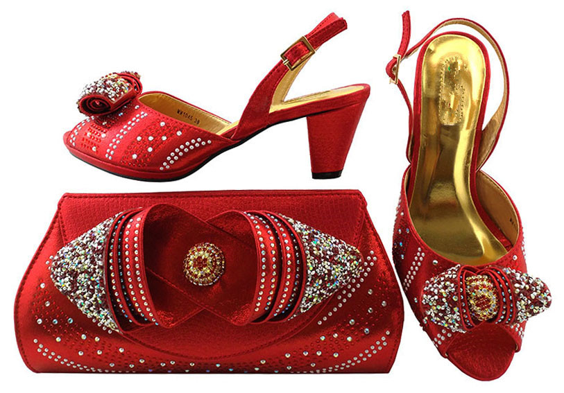 Роскошные свадебные красные туфли приятно соответствия с сумочкой комплект со стразами mm1045 Бесплатная доставка