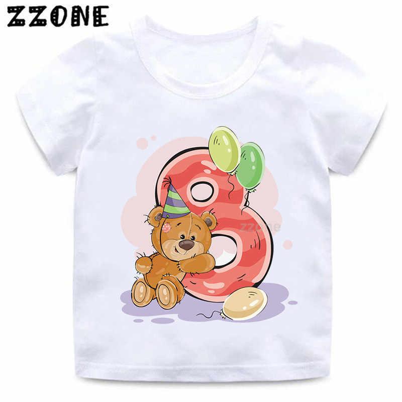 ชาย/หญิงหมีวันเกิดหมายเลข 1-9 พิมพ์ T เสื้อเด็กการ์ตูน Winnie ตลกเสื้อยืดเด็กวันเกิดปัจจุบันเสื้อผ้า, HKP5237