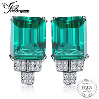 Jewelrypalace 6ct Princess Created Emeralds Clip On Earrings Solid 925 Sterling Silver 2016 Fine Jewelry For Women
